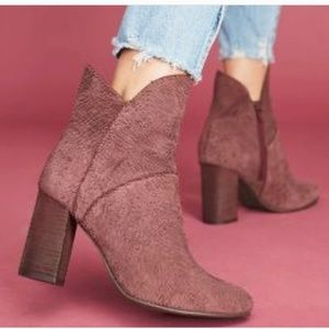 Burgundy Tulip-Trim Prop Leather Ankle Bootie